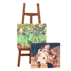 Easel with Two Painted Canvases