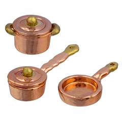 1/24 Scale 5-Pc. Copper Pot & Skillet Set