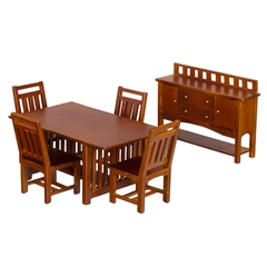 6-Pc Walnut Mission-Style Dining Set