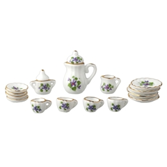 17-Pc. Purple and Pink Tea Set