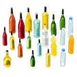 21-Pc Jewel Tone Bottle Set