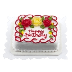 Red and Yellow Rose Birthday Sheet Cake
