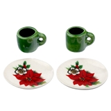4-Pc Poinsettia Plate and Mug Set