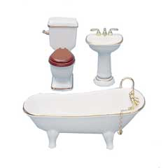 3-Pc Gold-Rimmed Porcelain Bath Set by Reutter Porzellan