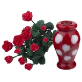 A Dozen Red Roses with Red Heart Vase