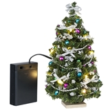 Silver and Jewel-Tone Lighted Christmas Tree