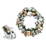 Silver and Gold Wreath and Tabletop Sleigh