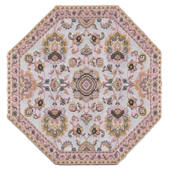Pink And Gold Damask Octagon Rug