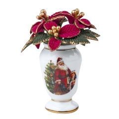 Holiday Poinsettia in Vase by Reutter Porzellan