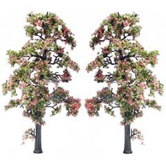 Set of Two Pink Blossom Trees