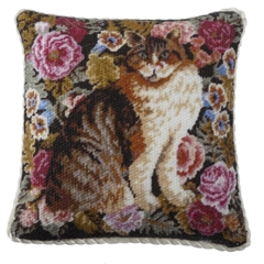 Calico Cat and Roses Pillow