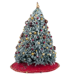 Red and Gold Flocked Christmas Tree