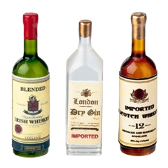 Three Liquor Bottles (Irish Whiskey, Gin and Scotch)