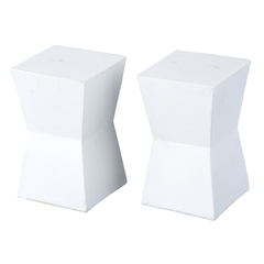 Pair of White Block End Tables
