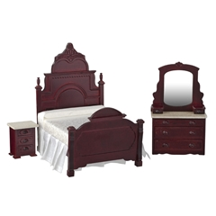 3-Pc. Marble Top Mahogany Bedroom Set