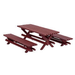 Redwood Picnic Table with Benches