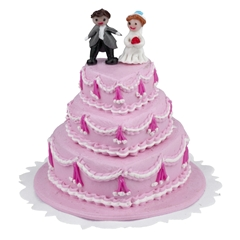 Three-Tier Pink Heart Wedding Cake