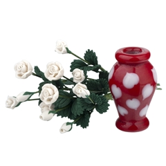 A Dozen White Roses with Red Heart Vase