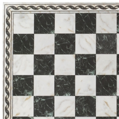 Black Faux Marble Flooring Sheet with Border