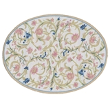 White Flowering Vine Oval Rug