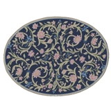 Navy Flowering Vine Oval Rug