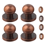 Four Aged Bronze Door Knobs with Escutcheons