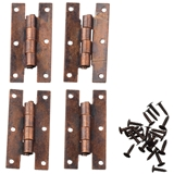 Set of Four Aged Bronze H Hinges with Nails