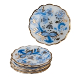 Four Blue Onion Dessert/Luncheon Plates