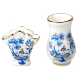 Two Blue Onion Vases by Reutter Porzellan