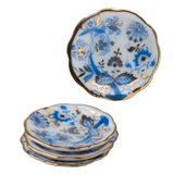 Four Blue Onion Dinner Plates by Reutter Porzellan