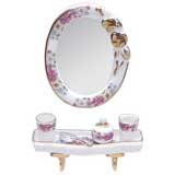 Porcelain Mirror and Bath Shelf Set by Reutter Porzellan