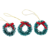 Three Flocked Green Wreaths with Bow