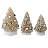 Three Vintage White Glitter Trees
