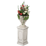 Red and White Daisies Planter with Pedestal