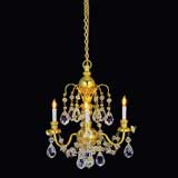 3-Arm Brass Grandeur Crystal Chandelier