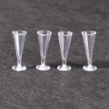 Four Empty Plastic Pilsner Glasses
