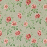 Dusty Green Rose Hill Floral Wallpaper