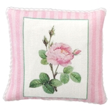 Pink Rose Pillow with Stripe Trim