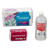 Tissues, Ibuprofen and Rubbing Alcohol