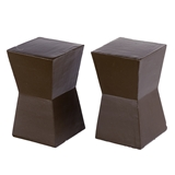 Pair of Dark Brown Block End Tables