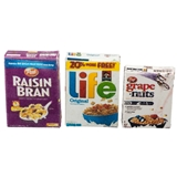 Raisin Bran, Life and Grape Nuts Cereal