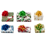 Six Christmas Presents with Pom-Pom Bows