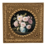 Pink Dahlias in a Chinese Pot Framed Print