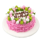 Pink and Green Happy Birthday Cake