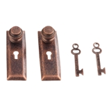 Two Classic Aged Bronze Doorknobs with Keys