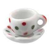 Christmas Dots Tea Cup and Saucer