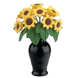 Sunflowers in Black Glass Vase