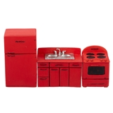 1/24 Scale Red 3-Pc. 1950s Kitchen Set