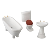1/24 Scale 3-Pc. White Bathroom Set