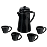 Black Coffee Pot and Mugs Set